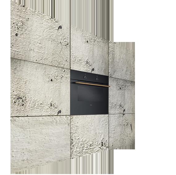 кухонная стена из необработанного бетона