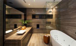Дерево в ванной комнате: качественная имитация