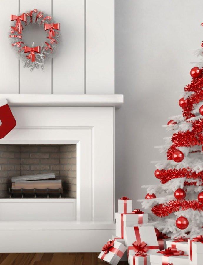 Рождество в стиле гламур: стильная белая ёлка
