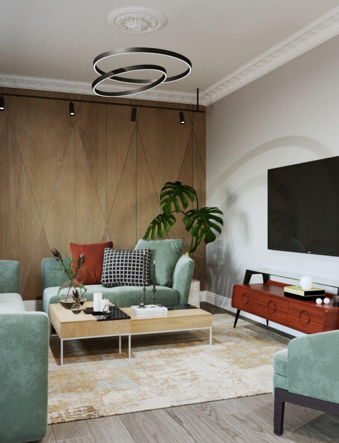 Фьюжн интерьер гостиной – совмещение классики и современности